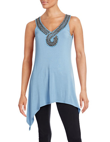 Fylo Beaded Neck Tank Top-BLUE-Small 88190404_BLUE_Small