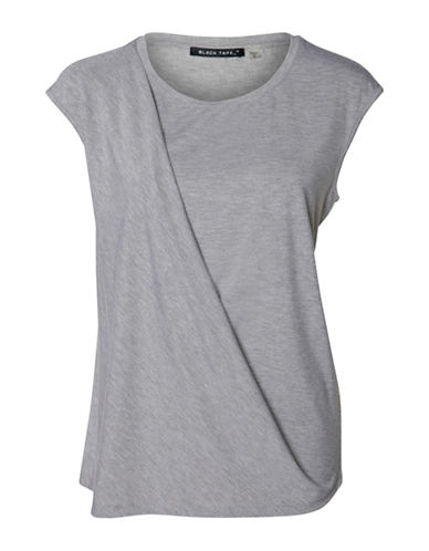 Fylo Draped Front Cap Sleeve Top-GREY-X-Large 88552343_GREY_X-Large