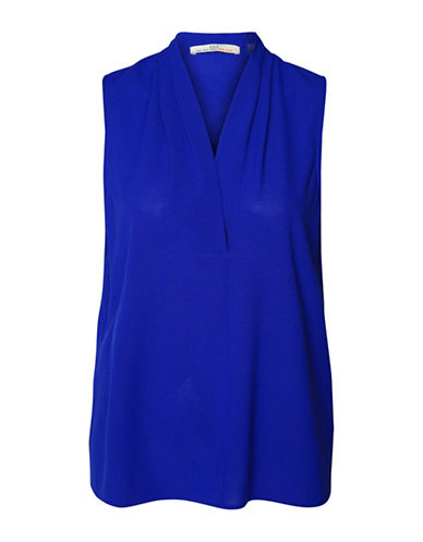 Dex Solid Woven Blouse-ELECTRIC BLUE-X-Small