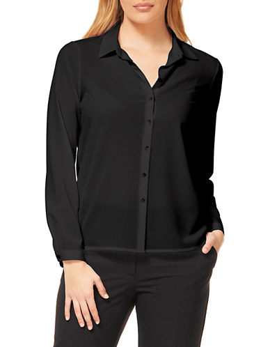 Dex Button-Front Blouse-BLACK-X-Small