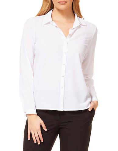 Dex Button-Front Blouse-WHITE-Small