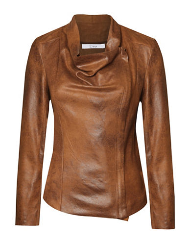 Dex Zip-Up Leather-Look Jacket-BROWN-X-Small 88696678_BROWN_X-Small