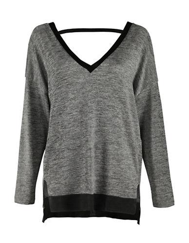 Dex Long Sleeve Split Hi-Lo Sweater-GREY-X-Small 88461750_GREY_X-Small