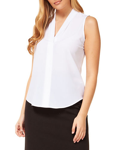 Dex Solid Woven Blouse-WHITE-X-Large