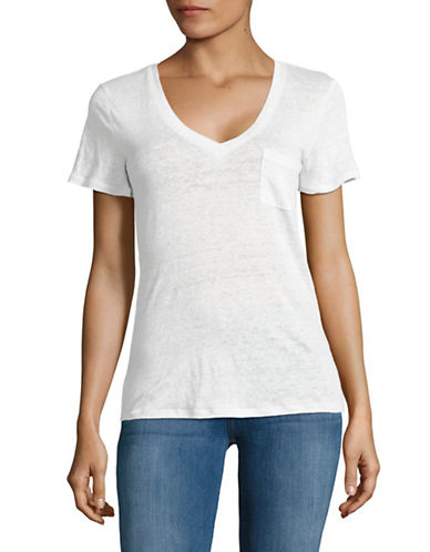 Dex Linen V-Neck T-Shirt-WHITE-Medium 89030062_WHITE_Medium