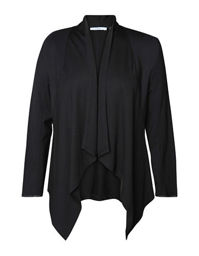 Dex Plus Plus Long-Sleeve Fly Away Blazer-BLACK-3X plus size,  plus size fashion plus size appare