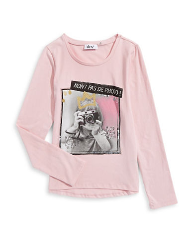 Dex Long Sleeve Embellished Graphic T-Shirt-PINK-Medium 88685025_PINK_Medium