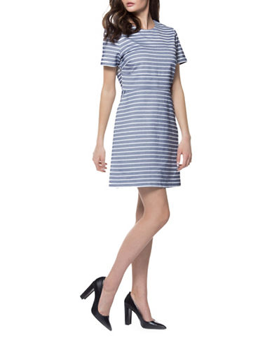 Dex Striped A-Line Dress-BLUE/WHITE-Medium