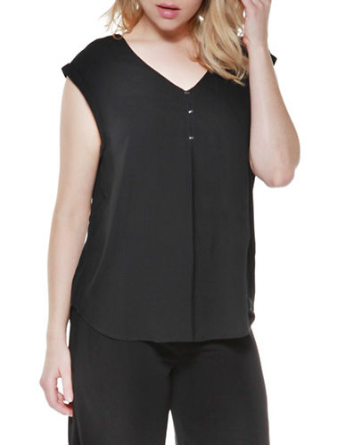 Dex Lace-Up Back Woven Top-BLACK-Large