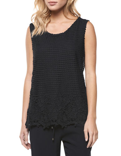 Dex Sleeveless Crochet Knit Top-BLACK-Small