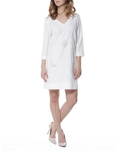 Dex Three-Quarter Eyelet Dress-IVORY-X-Small