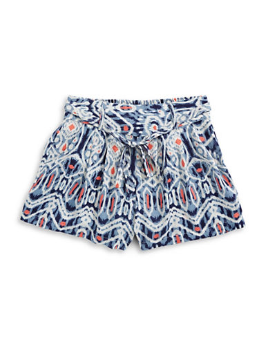 Dex Belted Print Shorts-BLUE-X-Large 89175957_BLUE_X-Large