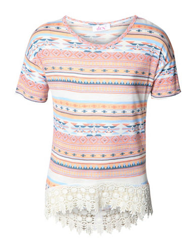 Dex Southwestern Crochet-Hem Tee-GREY-X-Large 88968438_GREY_X-Large