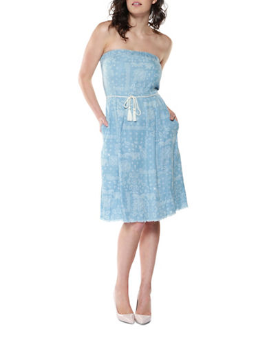 Dex Printed Tencel Tube Dress with Belt-BLUE-Large