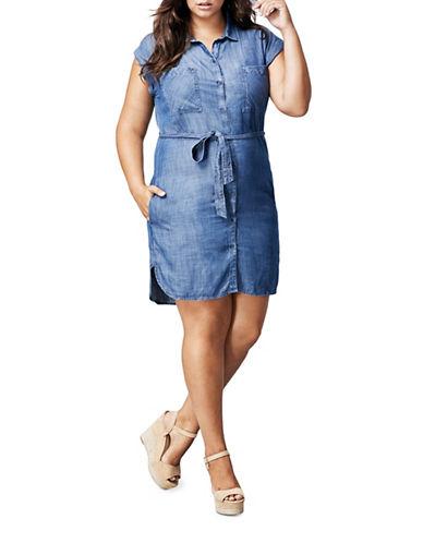 Dex Plus Denim Shirt Dress-BLUE-3X