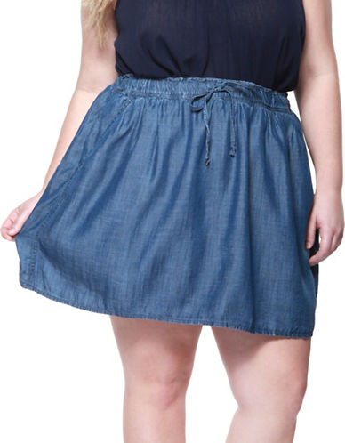 Dex Plus Flared Denim Skirt-BLUE-3X