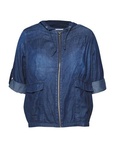 Dex Plus Roll-Tab Sleeve Bomber Jacket-BLUE-3X