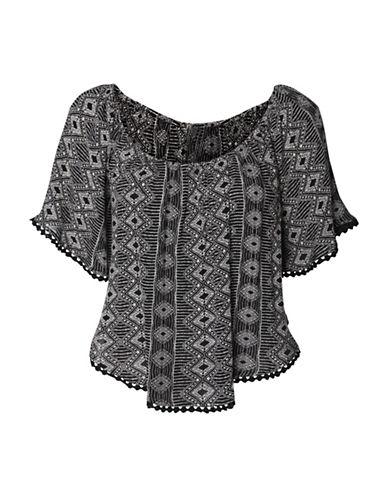 Dex Short Sleeve Geometric-Printed Top-BLACK-Medium 89010086_BLACK_Medium