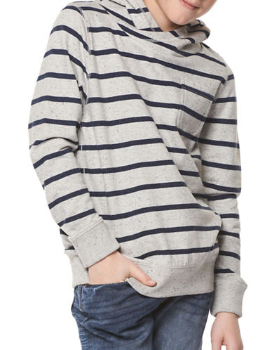 Dex Long-Sleeve Pull-On Striped Hoodie-GREY-Small