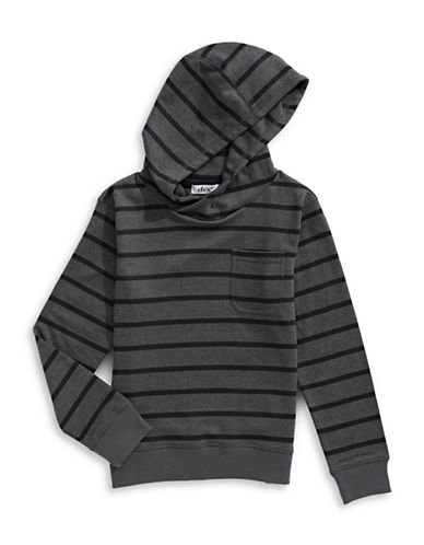 Dex Long-Sleeve Pull-On Striped Hoodie-GREY-Medium