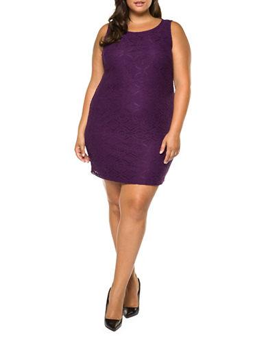 Dex Plus Lace Bodycon Dress-PURPLE-2X