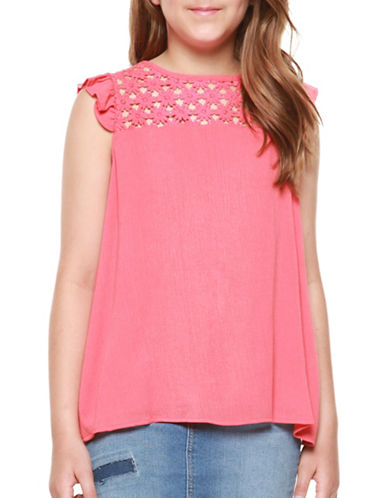 Dex Sleeveless Pleated Trim Top-PINK-Medium