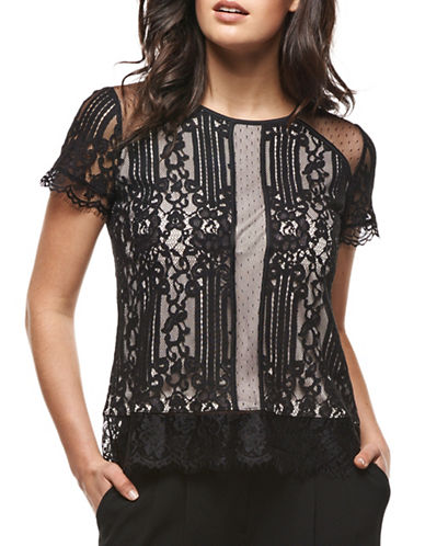 Dex Keyhole Back Lace Top-BLACK/ NUDE-X-Large