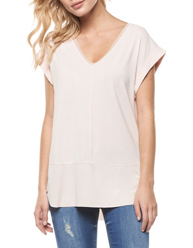 Dex Solid V-Neck Top-PINK-Small 89123846_PINK_Small