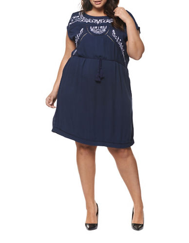 Dex Plus Belted Embroidery Dress-BLUE-1X