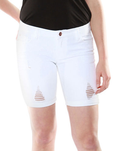Dex Ripped Bermuda Denim Shorts-WHITE-32