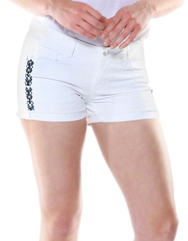 Dex Embroidered Bermuda Denim Shorts-WHITE-29