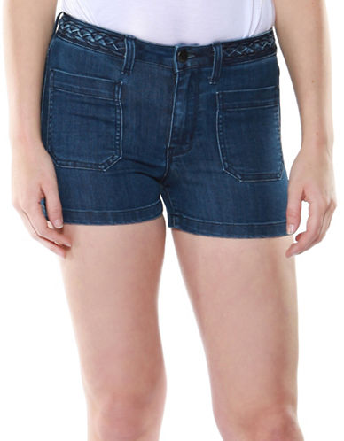 Dex High-Rise Belted Denim Shorts-BLUE-29
