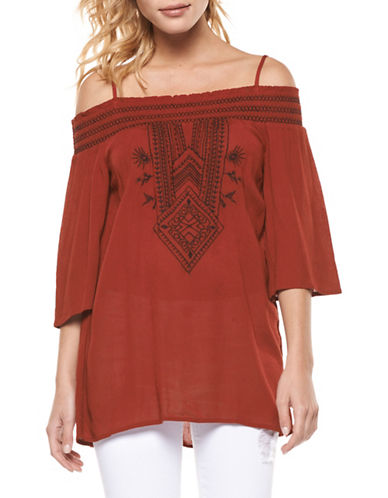 Dex Embroidered Cold-Shoulder Top-ORANGE-X-Small