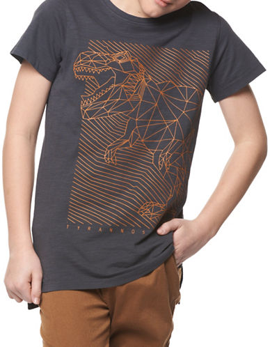 Dex Short-Sleeve Dinosaur Print Tee-GREY-Small