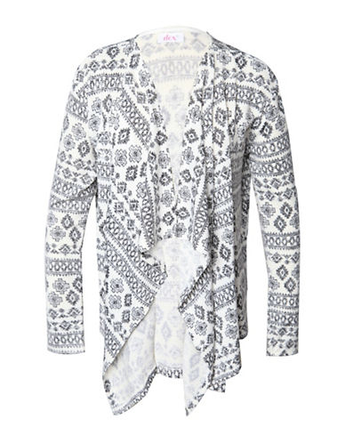 Dex Printed Open Front Cardigan-GREY-Small
