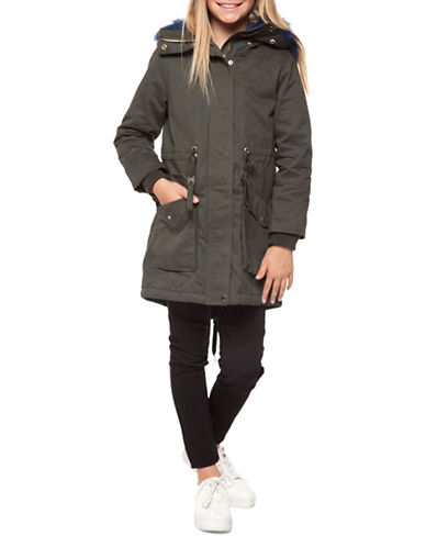 Dex Faux-Fur Trimmed Parka-GREEN-Small