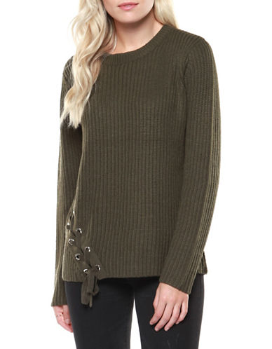 Dex Long Sleeve Ribbed Sweater-GREEN-Medium