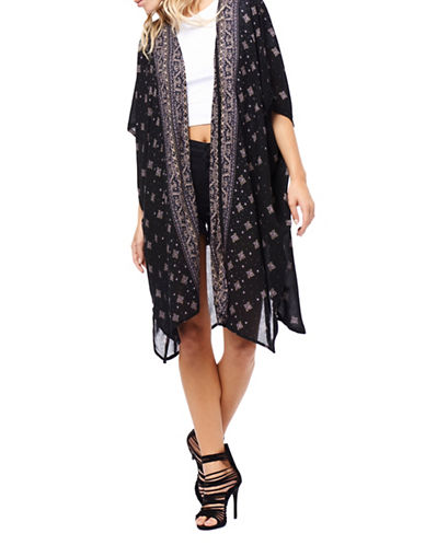 Dexed Out Printed Handkerchief Kimono Cardigan-BLACK-Small 89222721_BLACK_Small
