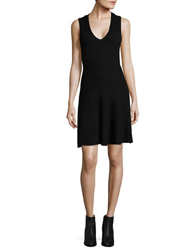 Dex V-Neck Fit-and-Flare Dress-BLACK-Medium