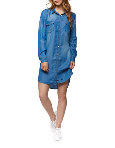 Dex Buttoned Denim Shirtdress-BLUE-Medium