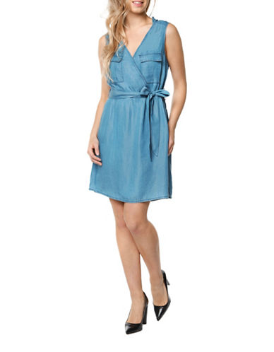 Dex Woven Denim Dress-BLUE-X-Small