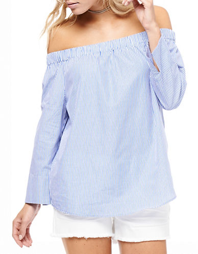 Dex Striped Off-Shoulder Blouse-BLUE-Small