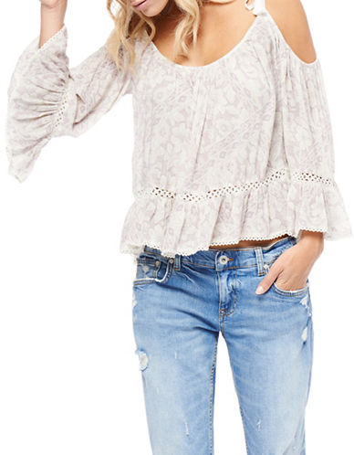 Dex Printed Cold-Shoulder Top-BEIGE-X-Small