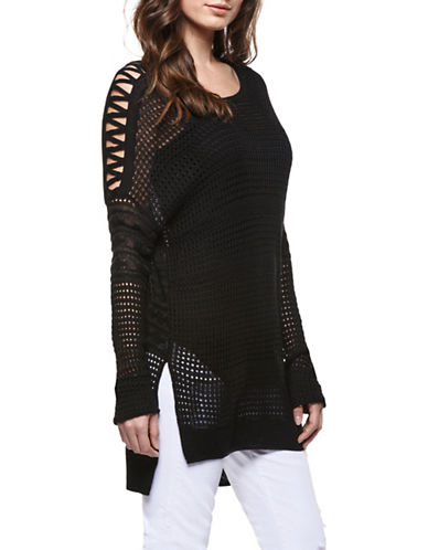 Dex Hi-Lo Mesh Sweater-BLACK-Medium 88980914_BLACK_Medium