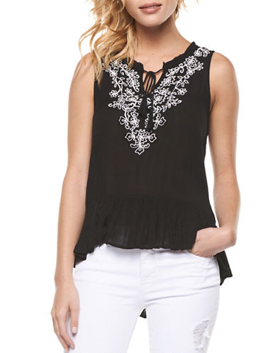 Dex Embroidered Peplum Tank-BLACK-X-Small 88980844_BLACK_X-Small