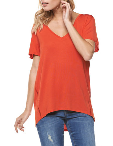 Dex Solid V-Neck Tee-ORANGE-Medium