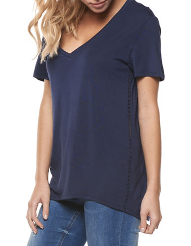 Dex Solid V-Neck Tee-BLUE-X-Small