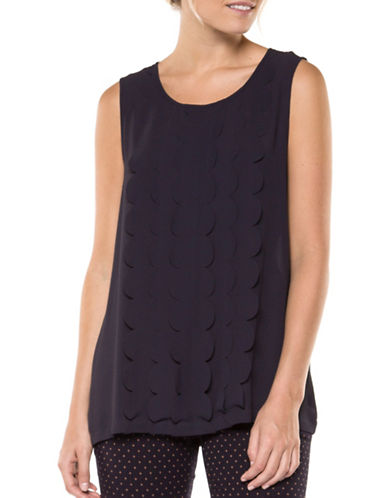 Dex Scallop Sleeveless Top-BLUE-Medium