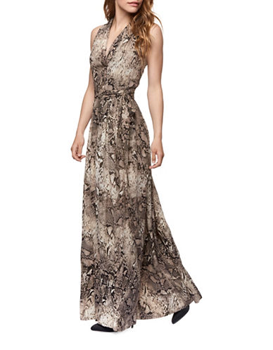 Dex Belted Snakeskin-Print Chiffon Maxi Dress-PRINT-Medium