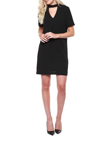 Dex Short Sleeve Cut-Out Dress-BLACK-Medium